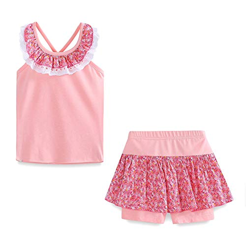 Little Girls Summer Clothes Floral Vest Top and Skirted Shorts Set Pink Size 5T