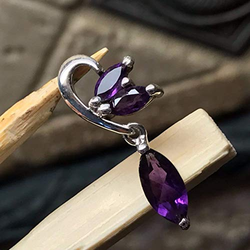 - Natural 1.5ct Purple Amethyst 925 Solid Sterling Silver 3-Stone Pendant 26mm