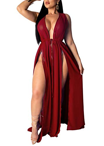 Women's Sexy Beachwear Swimsuit Cover up Swimwear Bikini Split Long Maxi Dresses (Medium, Wine ()