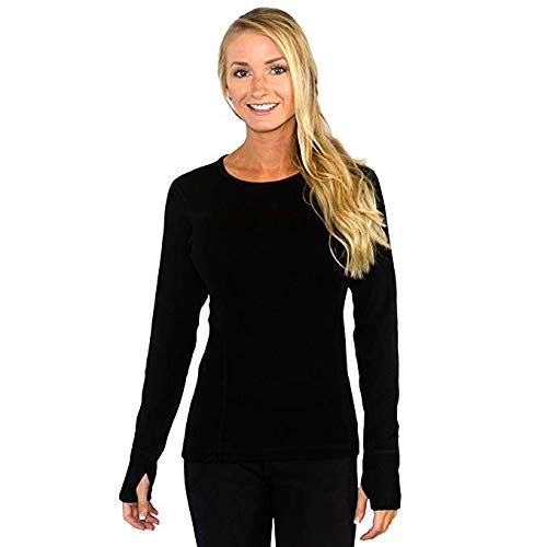Woolx Womens Riley Heavyweight Merino Wool Base Layer Top, Black, Large ()