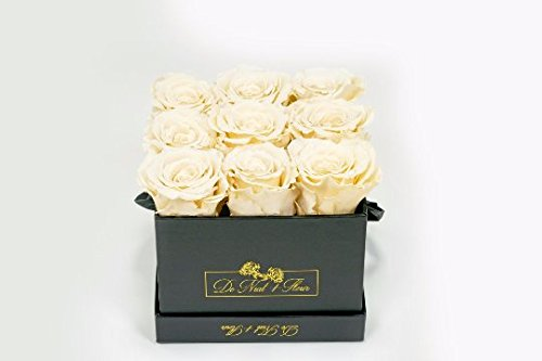 Cream Preserved Roses in Elegant Black Square Boxes by DE (Image #1)