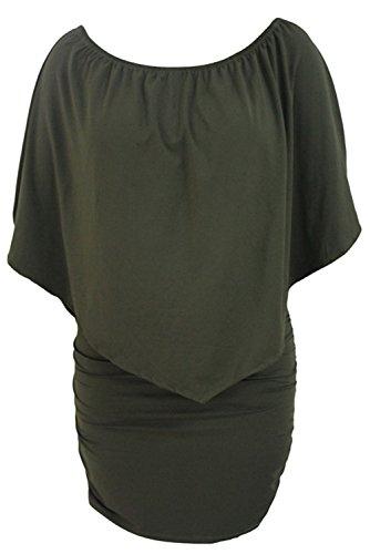 sexy Fiyote ruches Green scoperte con corto vestito da spalle donna e qBRrEwnqP0
