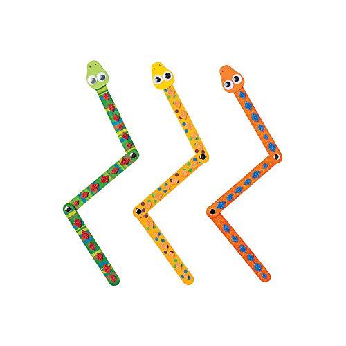 Fun Express - Craft Stick Snakes CK-12 - Craft Kits - DYO - Wood - Toy - 12 Pieces -