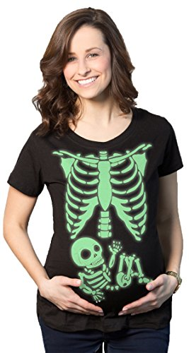 Super Funny Halloween Costume Ideas - Maternity Skeleton Baby T Shirt Halloween Costume Funny Pregnancy Tee For Mothers (Glow) -L
