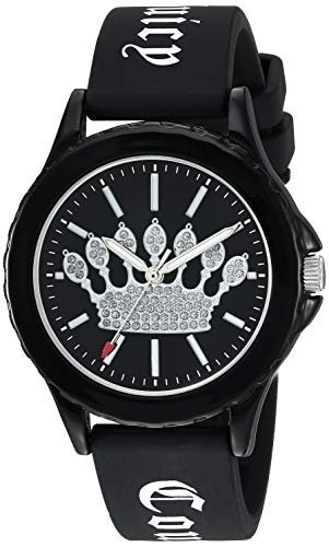 (Juicy Couture Black Label Women's  Glitter Accented Black Silicone Strap Watch)