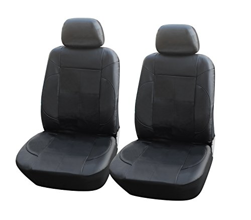 115301 Black-leather Like 2 Front Car Seat Covers Compatible to Mercedes-Benz C-Class Sedan E-Class Sedan S-Class Sedan CLS Couple GLA SUV GLC SUV 2017-2007 - S-class Sedan