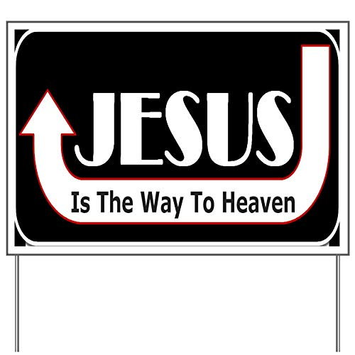 CafePress Christian Say Jesus Way One Liner Yard Sign, Vinyl Lawn Sign, Political Election ()