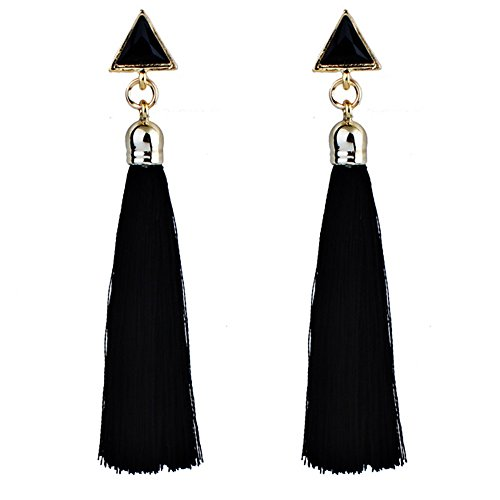 Women's Bohemian Ethnic Hanging Rope Tassel Earring Ear Stud Hanging Drop Eardrop for Women (Black, Size:9cm) ()