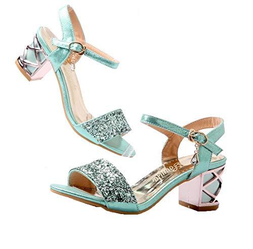 GMBLB015111 Ouverture Sandales Femme d'orteil à Correct Couleur Unie Bleu AgooLar Talon zYOxqO
