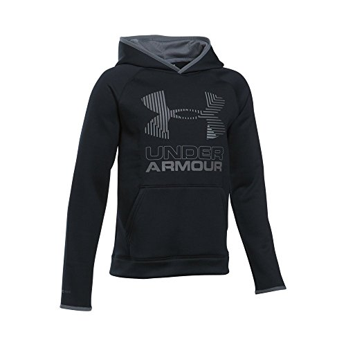Under Armour Boys' Armour Fleece Solid Big Logo Hoodie, Black/Steel, Youth X-Large - Boys Coldgear Long Sleeve