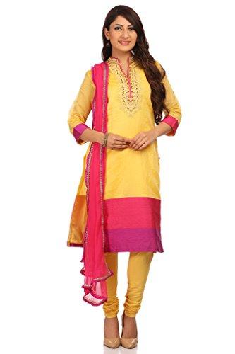 BIBA Women's Poly Cotton Straight Salwar Kameez Dupatta Suit Sets 36 Lime by Biba (Image #4)