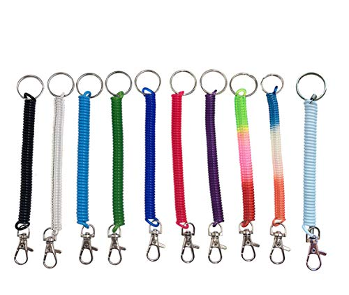 Retractable Spring Coil Keychain, Spiral Lanyards Carabiner Clips Hooks Wrist Coil Key Chain Stretch Cord with Metal Lobster Clasp 10PCS