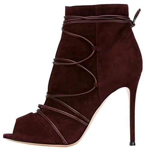 yBeauty Women's Stiletto Heels Peep Toe Bootie Black Lace Up Ankle High Boots Cross Strap Sandals Pumps