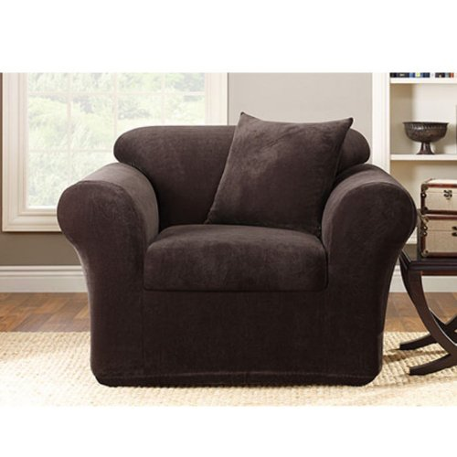 Sure Fit Stretch Metro 2-Piece - Chair Slipcover  - Espresso (SF39417)