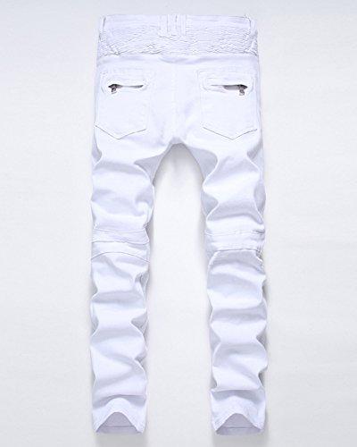 Bianco Dritto Dianshao Pantaloni Strappato Biker Uomo Strappati Jeans Moto Denim Pieghe Casual TwUqx4gfP