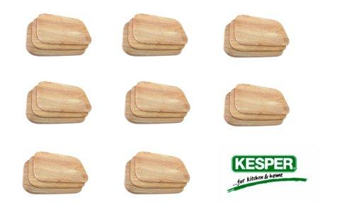 24 Stück Frühstücksbrett Frühstücksbrettchen Holz hell Gummibaum Essbrett Kesper # 64003