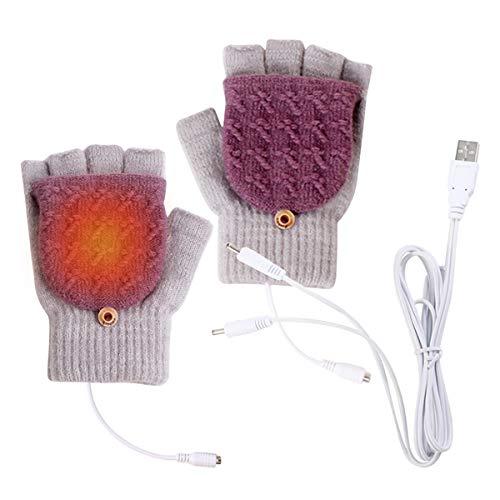 Corraes USB verwarmde handschoenen,Winter warme vingers USB verwarming handen breien verwarmde laptop handschoenen,voor…