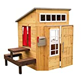 KidKraft Modern Outdoor Wooden Playhouse with Picnic Table, Mailbox and Outdoor Grill, Gift for Ages 3+