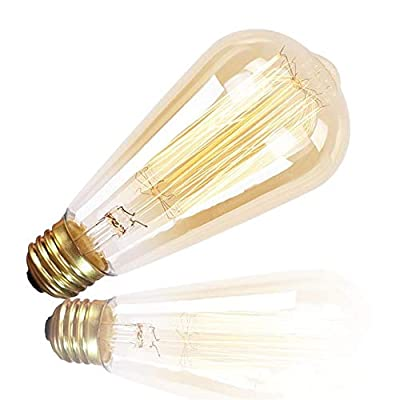 6-Pack Edison Retro Bulbs, Squirrel Cage Filament, ST64-60W, E26 Medium Standard Base, Dimmable, Amber Warm