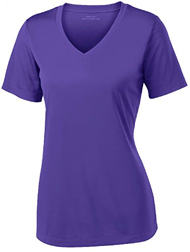 Women's Athletic All Sport V-Neck Tee Shirt in 12 Colors,X-Large,Purple