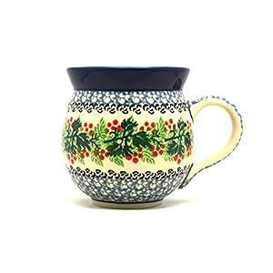 Polish Pottery Mug – 11 oz. Bubble – Holly Berry