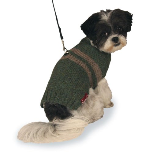 (Harness Dog Sweater: Green and Tan Hand-knit Sweater made from 100% Soft Alpaca (Medium))