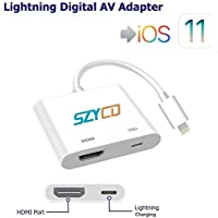 Lightning Digital AV Adapter, SZYCD iPhone iPad to HDMI Adapter with Lightning Charging Port for HD TV Monitor Projector 1080P Support iOS 9/10/11