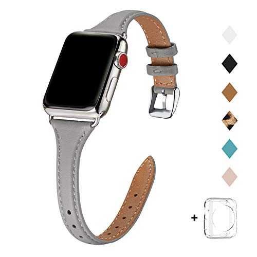 Bestig Leather Band Compatible for Apple Watch 38mm 40mm 42mm 44mm, Slim Thin Genuine Leather Replacement Strap for iWatch Series 5/4/3/2/1 (Gray Band+Silver Adapter, 38mm 40mm)