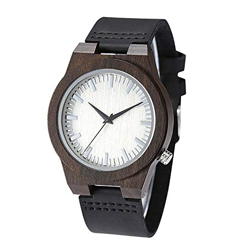 TJW Men's Black Sandal Genuine Leather Strap Watch Wooden Case Watch Quartz Movement Handmade Casual Wood Watches