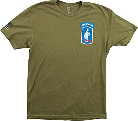 173rd Airborne Brigade & Sleeve Flag | U.S. Military Army Veteran 173d BDE Shirt-(OD Green,M) - Military Vet Patch
