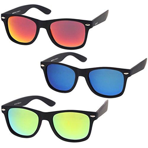 zeroUV - Rubberized Frame Reflective Mirror Polarized Lens Square Horn Rimmed Sunglasses 55mm (3 Pack Polarized | Blue - Wayfarer Men Sunglasses For