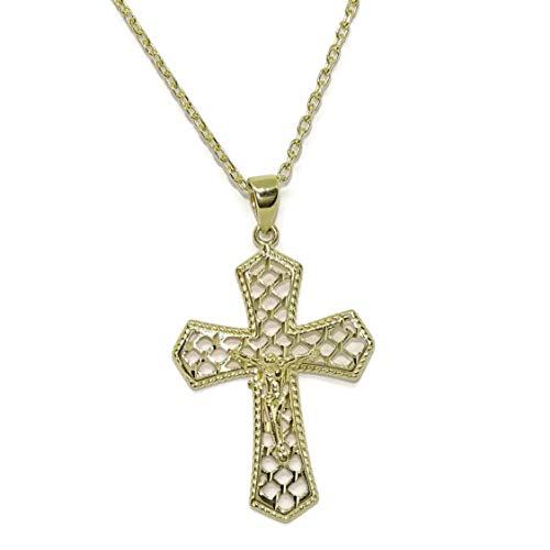 Never Say Never Cruz Oro Amarillo 18k Con Cristo Especial Comunion Con Cadena Forzada De 50cm 270cm De Alto Sin El Asa