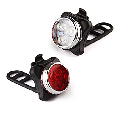 Mestart Rechargeable 3 LED Bike Light Set Bicycle Headlight and Taillight Combination