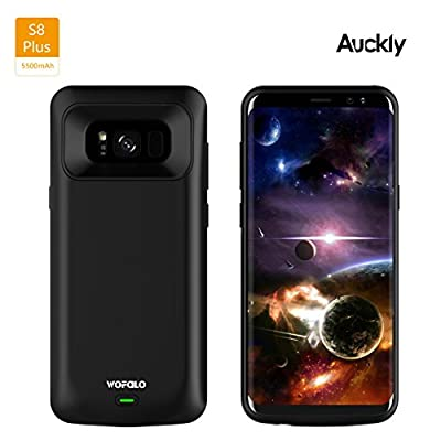 Galaxy S8 Plus Battery Case, Auckly 5500mAh Charger Case External Battery Backup Juice Pack Rechargeable Charger Case Pack Power Bank Cover For Samsung Galaxy S8 Plus ( Black)