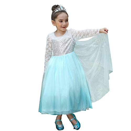 Dressy Daisy Girls Princess Elsa Dress Up Costumes Halloween Fancy Party Dresses Sequined Long Sleeve Size 4/5]()