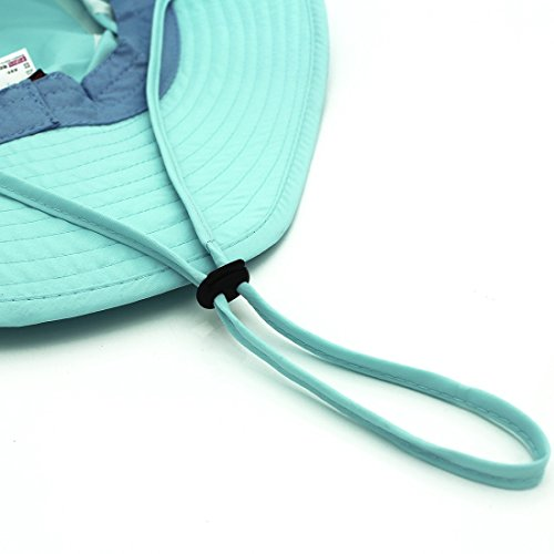 LLmoway Outdoor UPF50+ Summer Sun Cap Lightweight Packable Dry Fit Bora Boonie Hat with Cords AQU by LLmoway (Image #6)