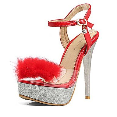 LvYuan Mujer-Tacón Stiletto-Otro-Sandalias-Boda Vestido Informal-PU-Negro Rojo Blanco White