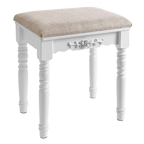 SONGMICS Vanity Stool, Comfortable Dressing, Padded Cushioned Bench with Rubber Wood Legs, Capacity 286lb, Easy Assembly, White URDS06WT, ()