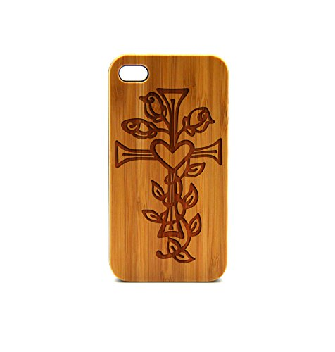 Krezy Case Real Wood iPhone 6 Plus Case, cross with flower iPhone 6 Plus Case, Wood iPhone 6 Plus Case, Wood iPhone Case,