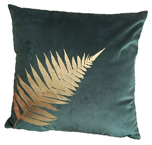 ZUODO 18 x18 Inches Plant Leaves Cushion Cover,Gold Foil Printing Velvet Pillow Case Covers 45 x45 cm Embroidered Decorative for Couch Bed Car Pack of 1 (Golden Leave, 1) (Cushions And Gold Green)