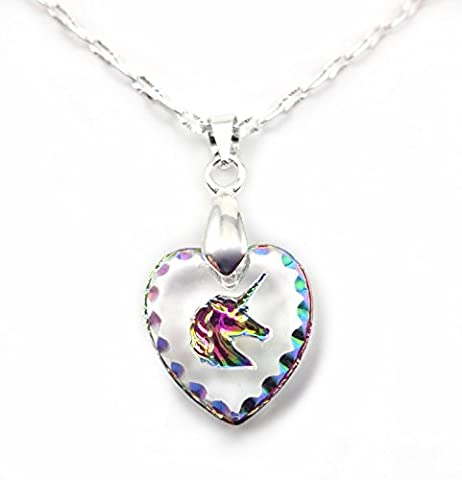 Rainbow Crystal Unicorn Heart Engraved Glass Pendant with 18 inch Silver Chain - Crystal Unicorn
