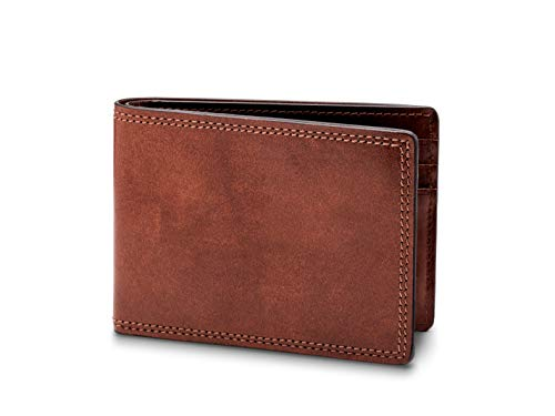 Bosca Bi Fold Wallet - Bosca Dolce Old Leather Small Bifold Wallet (Dark Brown, One Size)