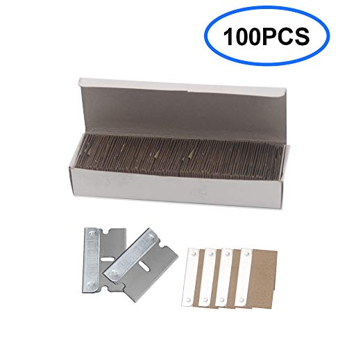 GAYISIC 100 Packs Razor Blades Scraper Single Edge Industrial Replaceable Single Edge Cutter Blade Knife for Removing Paint Mastic Car Sticker Glue and Window Decals (100 pcs)