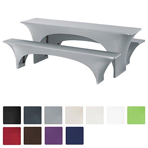 Beautissu® Stretchhusse Bierzeltgarnitur-Set 3tlg - Grau elastische Biertischhusse 220x50 cm + 2 Bierbankhussen