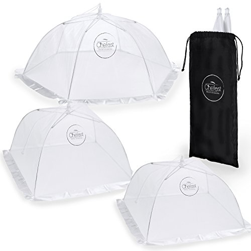 Fly Table - Chefast Food Cover Tents (5 Pack) - Combo Set of Pop Up Mesh Covers in 5 Sizes and a Reusable Carry Bag - Umbrella Screens to Protect Your Food and Fruit from Flies and Bugs at Picnics, BBQ and More