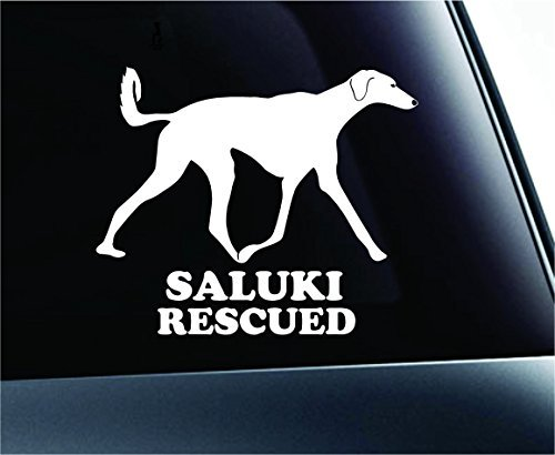 Saluki Rescued Dog Symbol Decal Paw Print Dog Puppy Pet Family Breed Love Car Truck Sticker Window (White), Decal Sticker Vinyl Car Home Truck Window Laptop