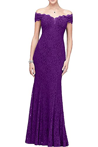 off Damen Violett bodenlang Satin Ivydressing Spitze Abendkleid Promkleid aermellos shoulder Applikation Ballkleid Etui kompliziert the 1RwqI