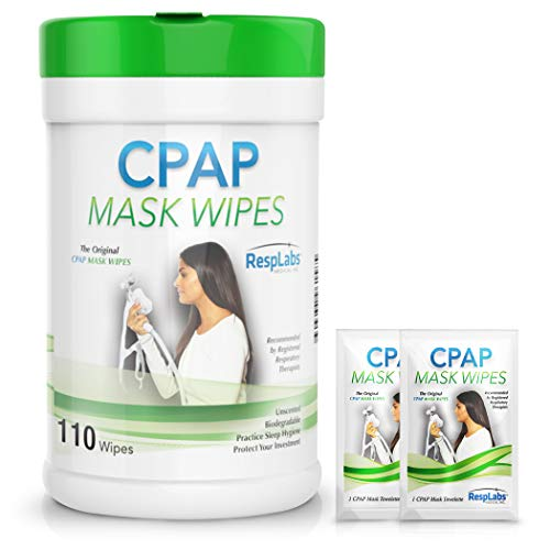 RespLabs Medical CPAP Mask Cleaning Wipes - [110 Pack Plus 2 Travel Wipes] - Biodegradable, Unscented, and Lint-Free.