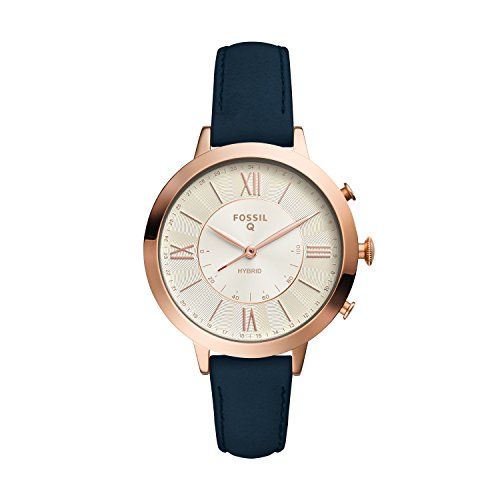 Fossil Women's Jacqueline Stainless Steel and Leather Hybrid Smartwatch, Color: Rose Gold, Blue (Model: FTW5014)