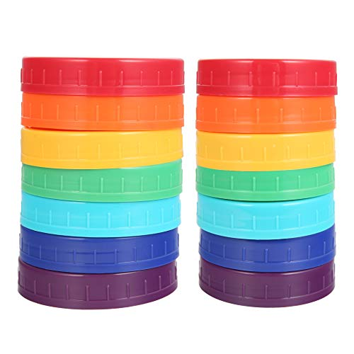 14Pcs Colored Plastic Mason Jar Lids Canning Jar Lids 7 Regular Mouth Lids & 7 Wide Mouth Plastic Storage Caps for Mason Jars, 7 Colors
